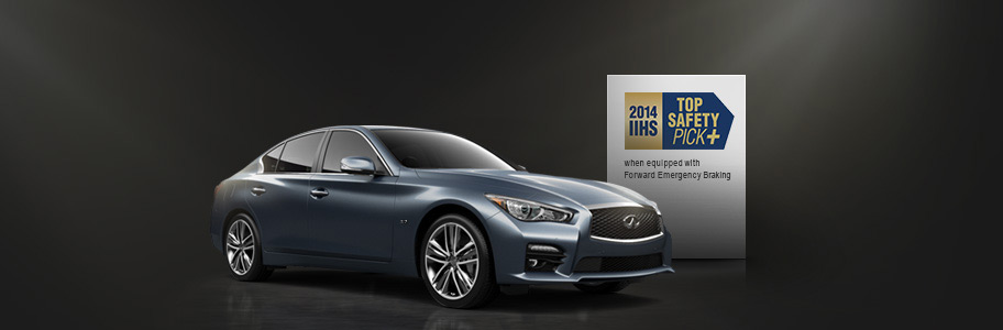 top safety pick from iihs the 2014 infiniti q50 earns top safety. Black Bedroom Furniture Sets. Home Design Ideas